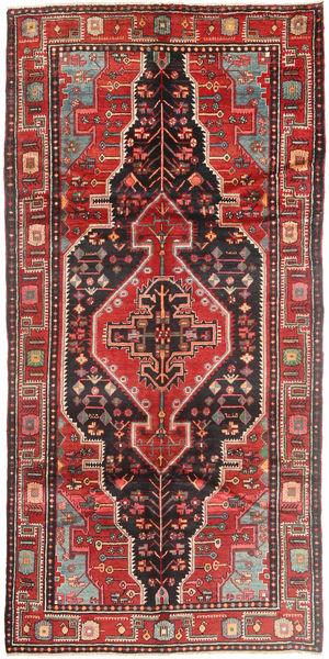 Nahavand Rug 155X305 Authentic  Oriental Handknotted Hallway Runner  Dark Brown/Brown (Wool, Persia/Iran)