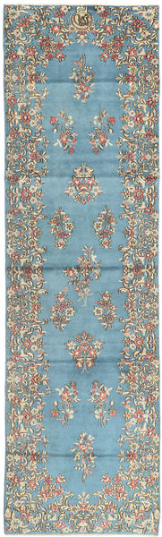 Kerman Matto 89X316 Itämainen Käsinsolmittu Käytävämatto Vaaleansininen/Tummanharmaa (Villa, Persia/Iran)