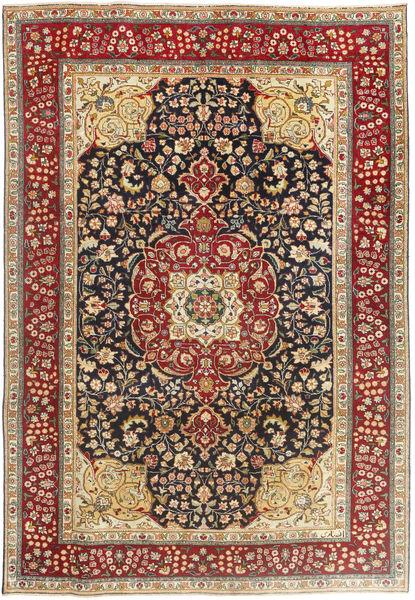 Tabriz Patina Matta 195X283 Äkta Orientalisk Handknuten Brun/Mörkbrun (Ull, Persien/Iran)