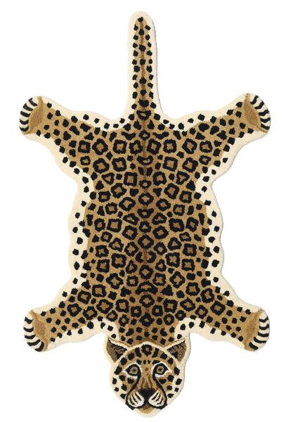 Leopard - Beige Teppe 100X160 Moderne Svart/Lysbrun (Ull, India)