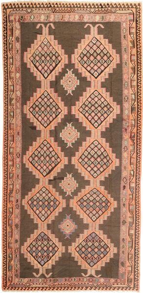 Kilim Rug 190X397 Authentic  Oriental Handwoven Hallway Runner  Brown/Light Brown (Wool, Persia/Iran)