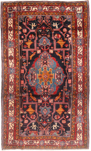 Nahavand Rug 167X280 Authentic  Oriental Handknotted Dark Red/Brown (Wool, Persia/Iran)