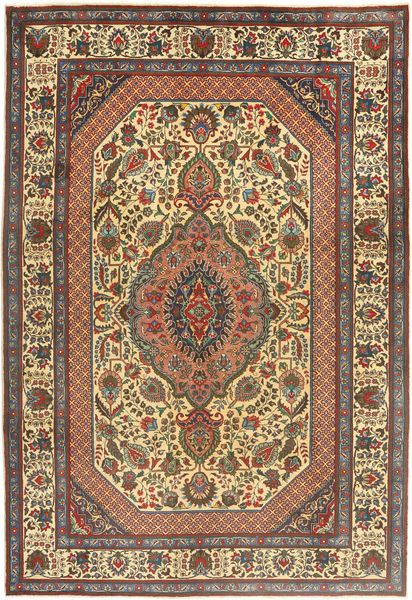 Tabriz Rug 204X300 Authentic  Oriental Handknotted Dark Grey/Light Brown (Wool, Persia/Iran)