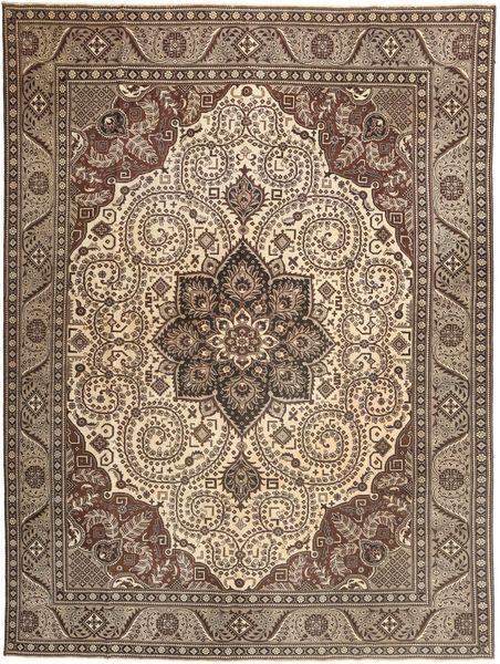 Tabriz Patina Matto 307X410 Itämainen Käsinsolmittu Ruskea/Vaaleanharmaa Isot (Villa, Persia/Iran)