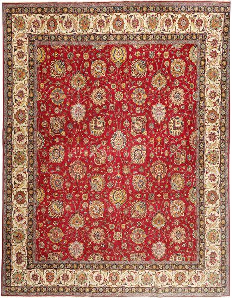 タブリーズ パティナ 絨毯 340X417 オリエンタル 手織り 薄茶色/深紅色の 大きな (ウール, ペルシャ/イラン)