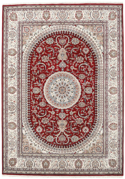 Nain Indo Rug 253X357 Authentic  Oriental Handknotted Light Grey/Dark Red Large ( India)