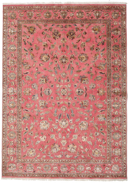 Keshan Indo Villa/Viscos Matto 240X336 Itämainen Käsinsolmittu Vaaleanruskea/Pinkki (Villa/Silkki, Intia)