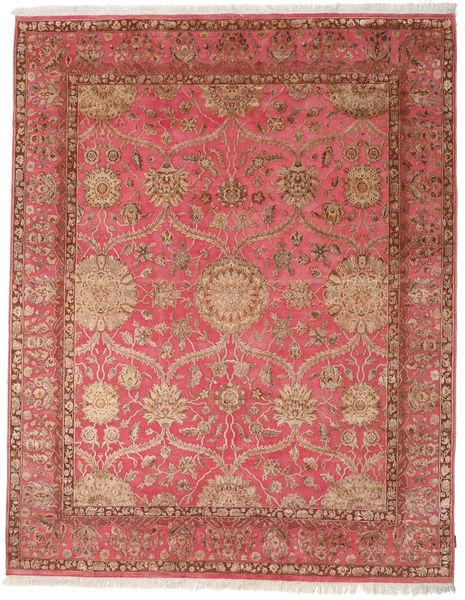 Keshan Indo Wool/Viscos Rug 236X300 Authentic  Oriental Handknotted Brown/Light Brown (Wool/Silk, India)