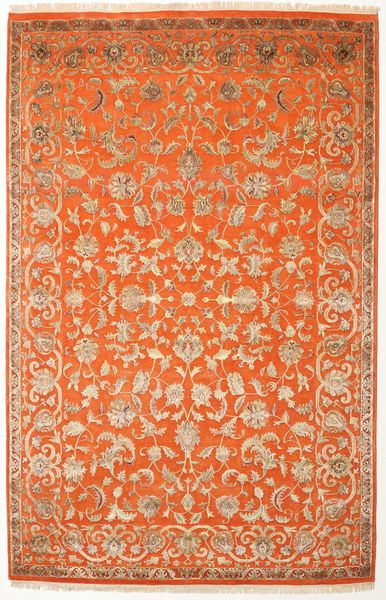 Keshan Indo Wool/Viscos Rug 196X303 Authentic  Oriental Handknotted Orange/Light Brown (Wool/Silk, India)