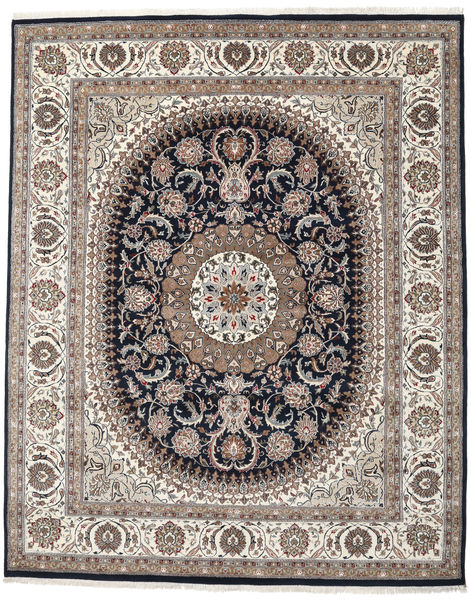 ナイン インド 絨毯 252X311 オリエンタル 手織り 濃いグレー/薄茶色/薄い灰色 大きな ( インド)