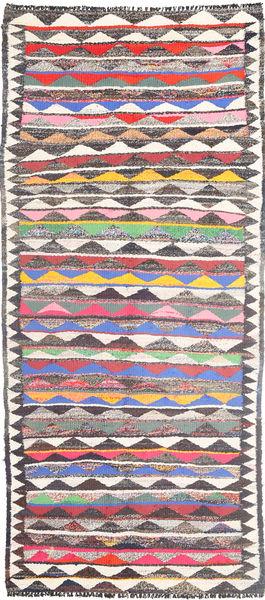 Kelim Matto 126X293 Itämainen Käsinkudottu Käytävämatto Beige/Tummanharmaa (Villa, Persia/Iran)