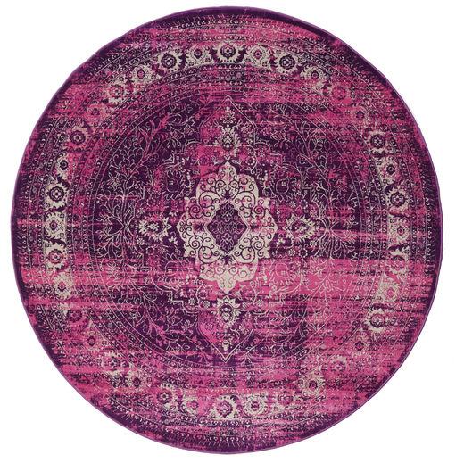 Jacinda - Pink Teppe Ø 150 Moderne Rundt Mørk Lilla/Rosa ( Tyrkia)