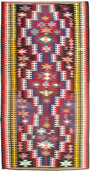 Kilim Rug 180X352 Authentic  Oriental Handwoven Hallway Runner  Dark Red/Dark Brown (Wool, Persia/Iran)