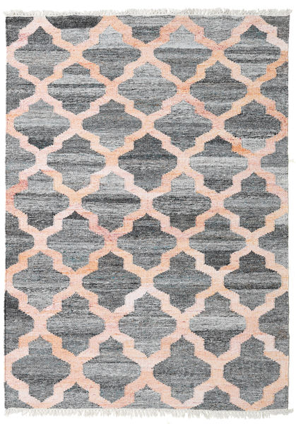 Kathi - Grey/Coral Rug 140X200 Authentic  Modern Handwoven Dark Grey/Light Pink ( India)