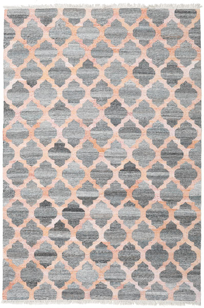 Kathi - Grey/Coral Rug 200X300 Authentic  Modern Handwoven Light Grey/Light Pink ( India)