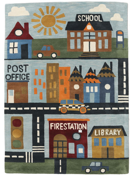 My Town Handtufted Rug 170X240 Modern Dark Grey/Light Blue (Wool, India)