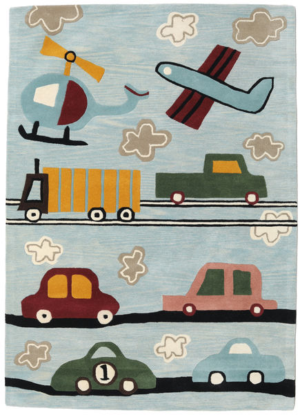 Cars Handtufted Rug 170X240 Modern Light Grey/Light Blue (Wool, India)