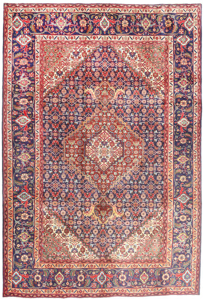Tabriz Tapijt 202X304 Echt Oosters Handgeknoopt Donkerbeige/Purper (Wol, Perzië/Iran)