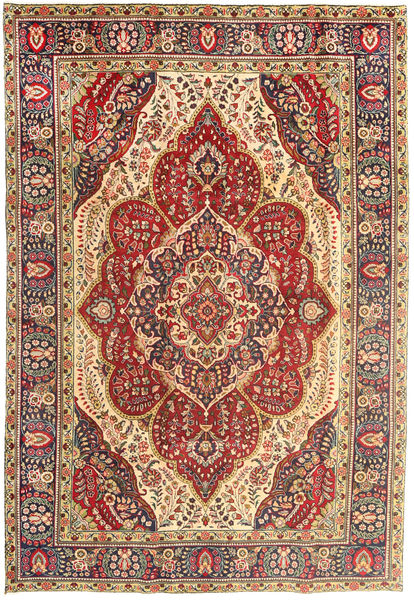 Tabriz Rug 200X293 Authentic  Oriental Handknotted Light Brown/Dark Red (Wool, Persia/Iran)