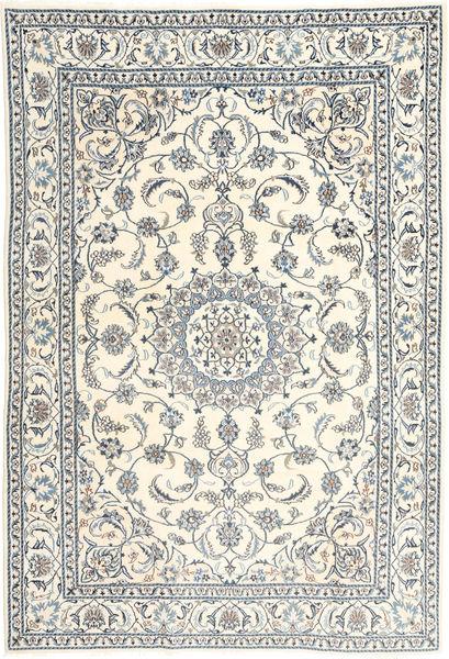 Nain Covor 195X293 Orientale Lucrat Manual Bej/Gri Deschis (Lână, Persia/Iran)