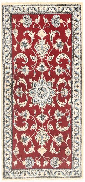 Nain Vloerkleed 69X134 Echt Oosters Handgeknoopt Rood/Lichtroze (Wol, Perzië/Iran)