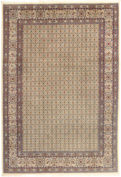 Moud Rug 195X290 Authentic  Oriental Handknotted Light Brown/Beige (Wool/Silk, Persia/Iran)