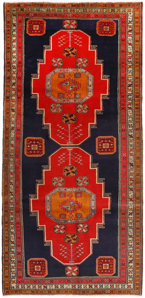 Ardebil Rug 156X327 Authentic  Oriental Handknotted Hallway Runner  Rust Red/Dark Purple (Wool, Persia/Iran)
