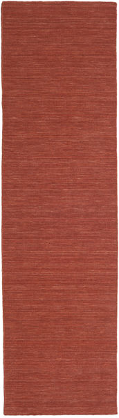 Kilim Loom - Rust Rug 80X400 Authentic  Modern Handwoven Hallway Runner  Dark Red (Wool, India)