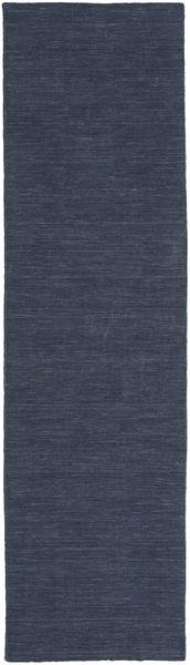 Kilim Loom - Denim Blue Rug 80X300 Authentic  Modern Handwoven Hallway Runner  Dark Blue/Blue (Wool, India)
