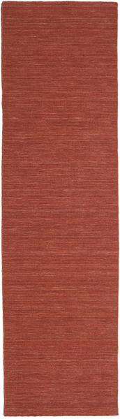 Kelim Loom - Roestkleur Vloerkleed 80X300 Echt Modern Handgeweven Tapijtloper Donkerrood/Bruin (Wol, India)