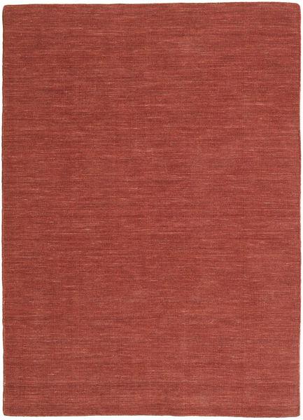 Kelim Loom - Rost Matta 140X200 Äkta Modern Handvävd Mörkröd/Brun (Ull, Indien)
