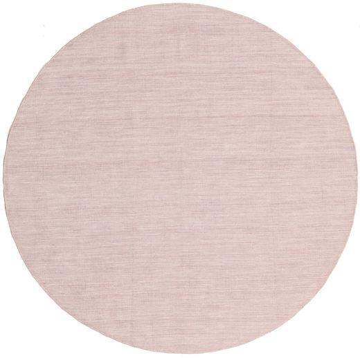 Kelim Loom - Misty Pink Teppich  Ø 200 Echter Moderner Handgewebter Rund Dunkel Beige/Hellrosa (Wolle, Indien)