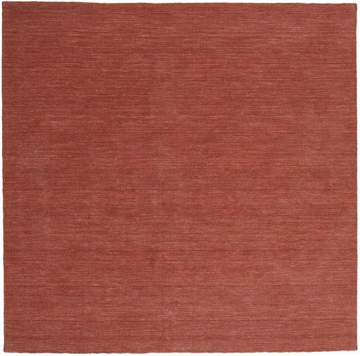 Kilim Loom - Rdzawy Dywan 250X250 Nowoczesny Tkany Ręcznie Kwadratowy Ciemnoczerwony/Brązowy Duży (Wełna, Indie)