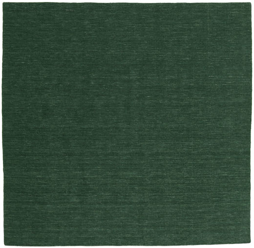Kilim Loom - Forest Green Rug 250X250 Authentic  Modern Handwoven Square Dark Green Large (Wool, India)