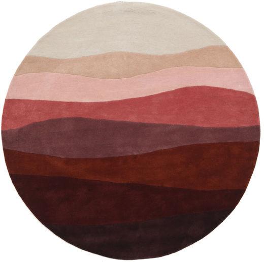 Feeling Handtufted - Wine Dywan Ø 200 Nowoczesny Okrągły Ciemnoczerwony/Jasnoszary (Wełna, Indie)