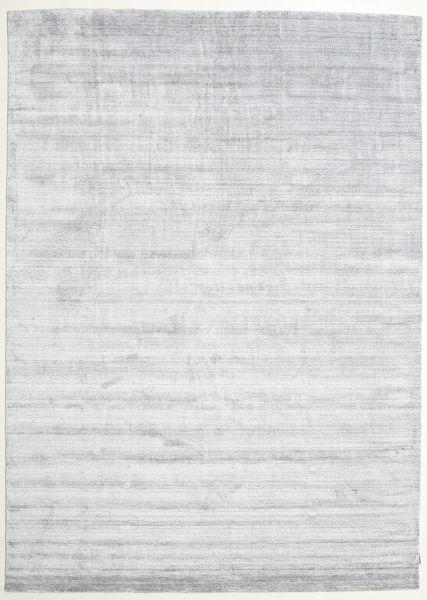 Bamboe Zijde Loom - Grijs Vloerkleed 250X350 Modern Wit/Creme/Lichtblauw Groot ( India)