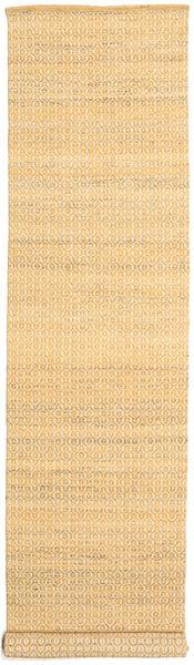 Alva - Tumma _Gold/Valkoinen Matto 80X350 Moderni Käsinkudottu Käytävämatto Vaaleanruskea/Tummanbeige (Villa, Intia)