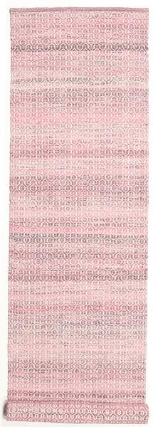 Alva - ピンク/白 絨毯 80X350 モダン 手織り 廊下 カーペット ライトピンク/ベージュ (ウール, インド)