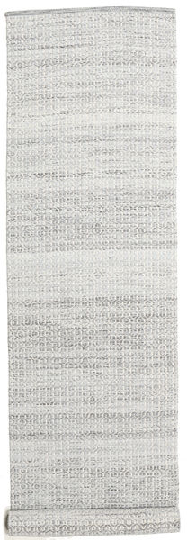Alva - Grey/White Rug 80X350 Authentic  Modern Handwoven Hallway Runner  Beige/Light Grey (Wool, India)