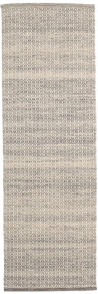 Alva - Braun/Weiß Teppich  80X250 Echter Moderner Handgewebter Läufer Hellbraun/Hellgrau/Beige (Wolle, Indien)