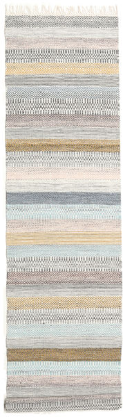 Ester Rug 80X350 Authentic  Modern Handwoven Hallway Runner  Light Grey/White/Creme (Wool, India)