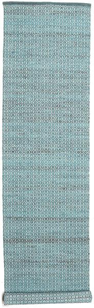 Alva - Turkoois/Wit Tapijt 80X350 Echt Modern Handgeweven Tapijtloper Beige/Lichtblauw (Wol, India)