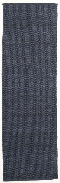 Alva - Blue/Black Rug 80X250 Authentic  Modern Handwoven Hallway Runner  Dark Blue/Purple (Wool, India)