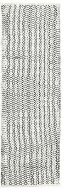 Alva - Vit/Svart Matta 80X250 Äkta Modern Handvävd Hallmatta Ljusgrå/Beige (Ull, Indien)