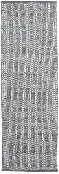Alva - Mørk Grå/Vit Teppe 80X250 Ekte Moderne Håndvevd Teppeløpere Lys Grå/Hvit/Creme (Ull, India)