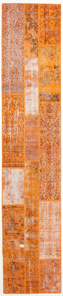 Patchwork Tapis 80X404 Moderne Fait Main Orange/Marron Clair (Laine, Perse/Iran)