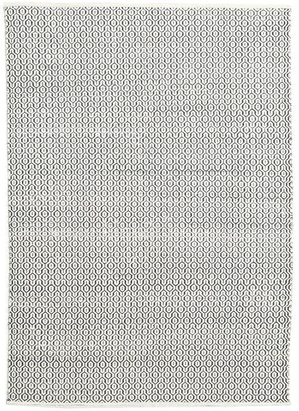 Alva - Blanc/Noir Tapis 160X230 Moderne Tissé À La Main Gris Foncé/Beige (Laine, Inde)