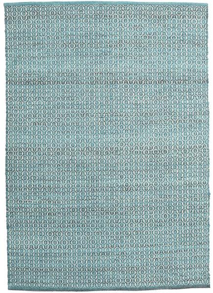 Alva - Turkoois/Wit Tapijt 140X200 Echt Modern Handgeweven Blauw/Wit/Creme (Wol, India)