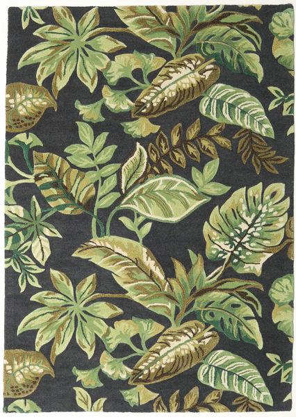 Jungel - Verde/Negro Alfombra 160X230 Moderna Gris Oscuro/Verde Claro (Lana, India)