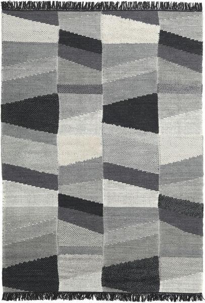 Viola - Grå/Sort Tæppe 160X230 Ægte Moderne Håndvævet Mørkegrå/Turkis Blå (Uld, Indien)